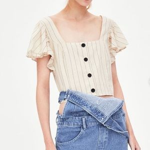Zara Button Square Neck Ruffly Shoulder Crop Top
